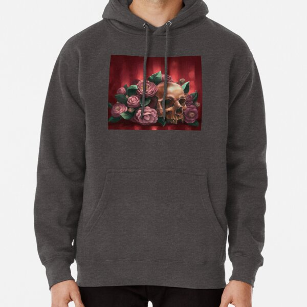 Skull and Camellias Pullover Hoodie