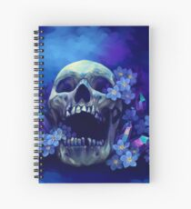Skull and Forget-me-nots Spiral Notebook