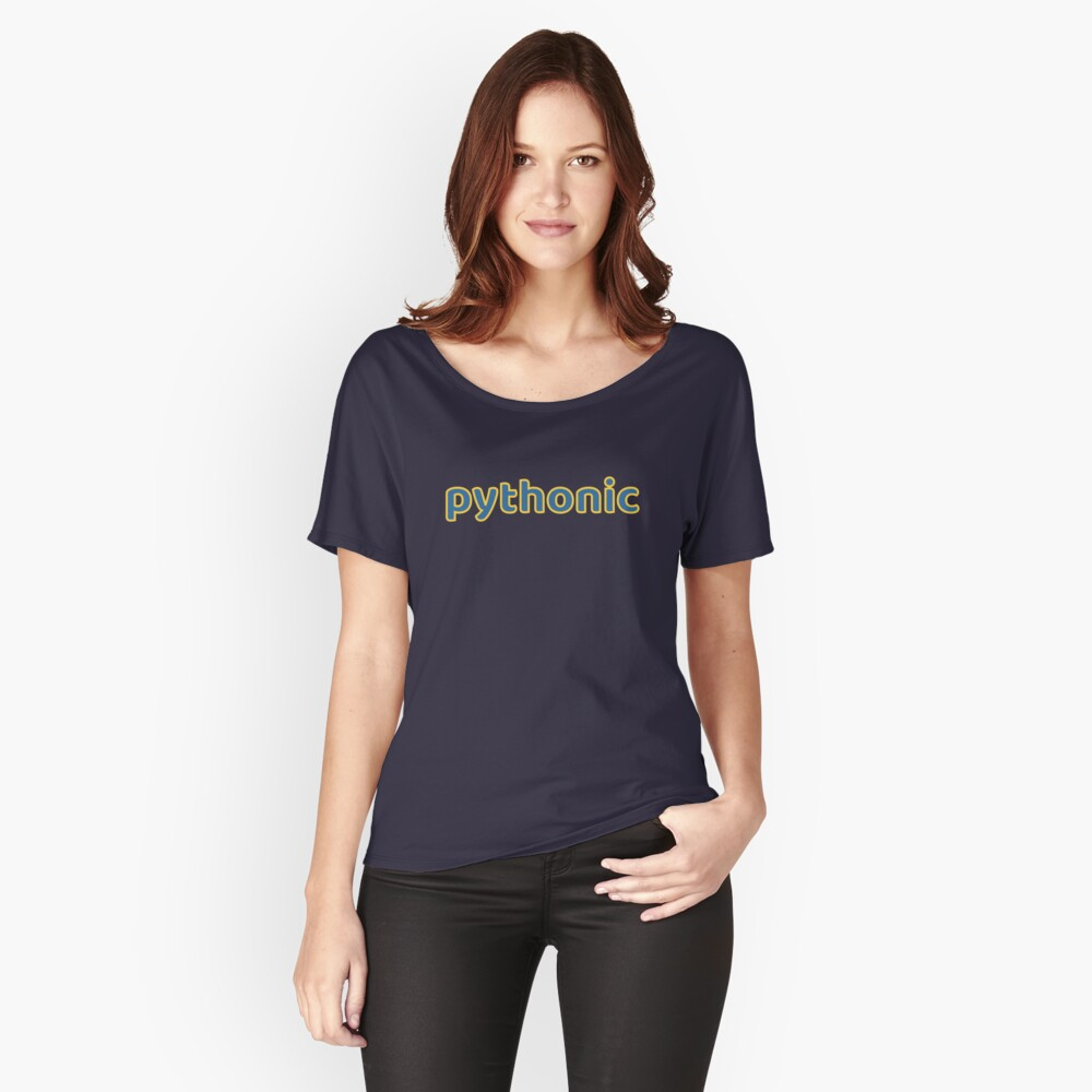 Pythonic - Python Programmer Blue/Yellow Text Design Relaxed Fit T-Shirt