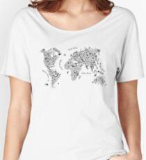 Typography World Map. Women's Relaxed Fit T-Shirt