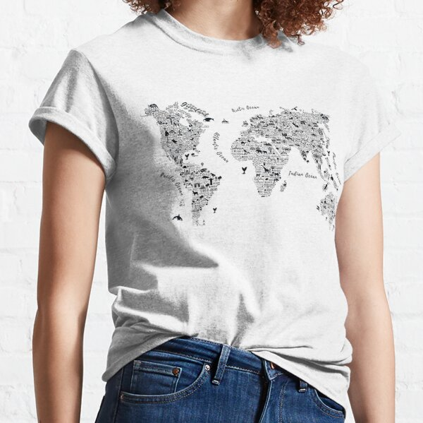 Typography World Map. Classic T-Shirt