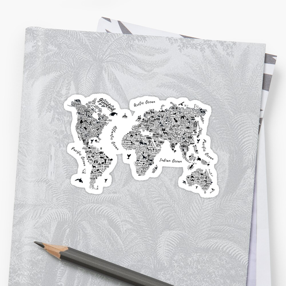 Typography World Map. Pegatina