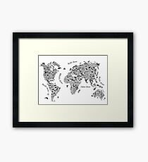 Typography World Map. Framed Print