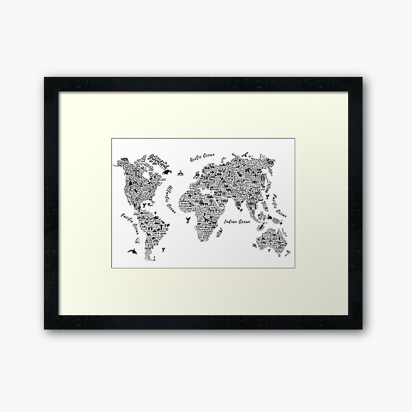 Typography World Map. Gerahmter Kunstdruck