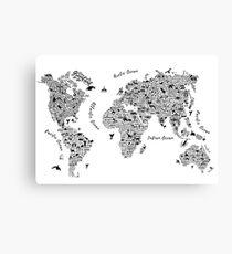 Typography World Map. Canvas Print