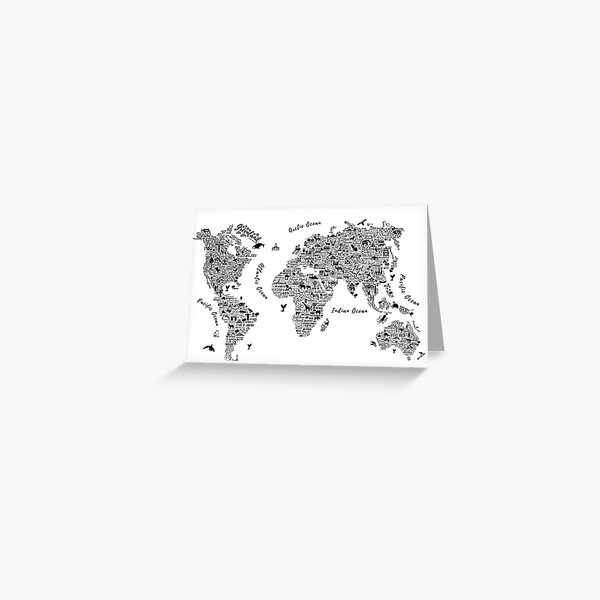 Typography World Map. Greeting Card