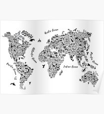 Póster Typography World Map.