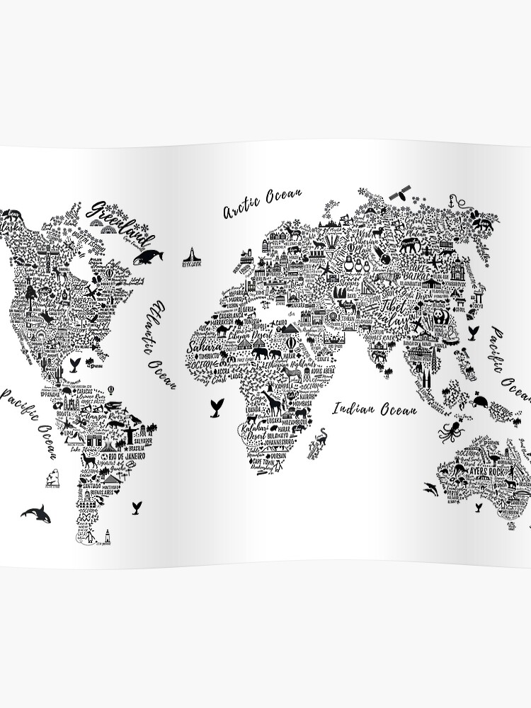 Typography World Map. | Poster