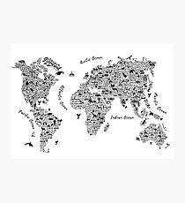 Lámina fotográfica Typography World Map.
