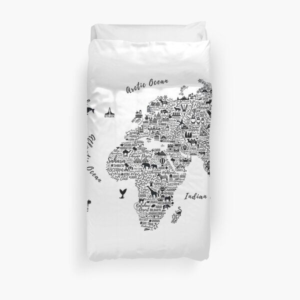 Typography World Map. Duvet Cover