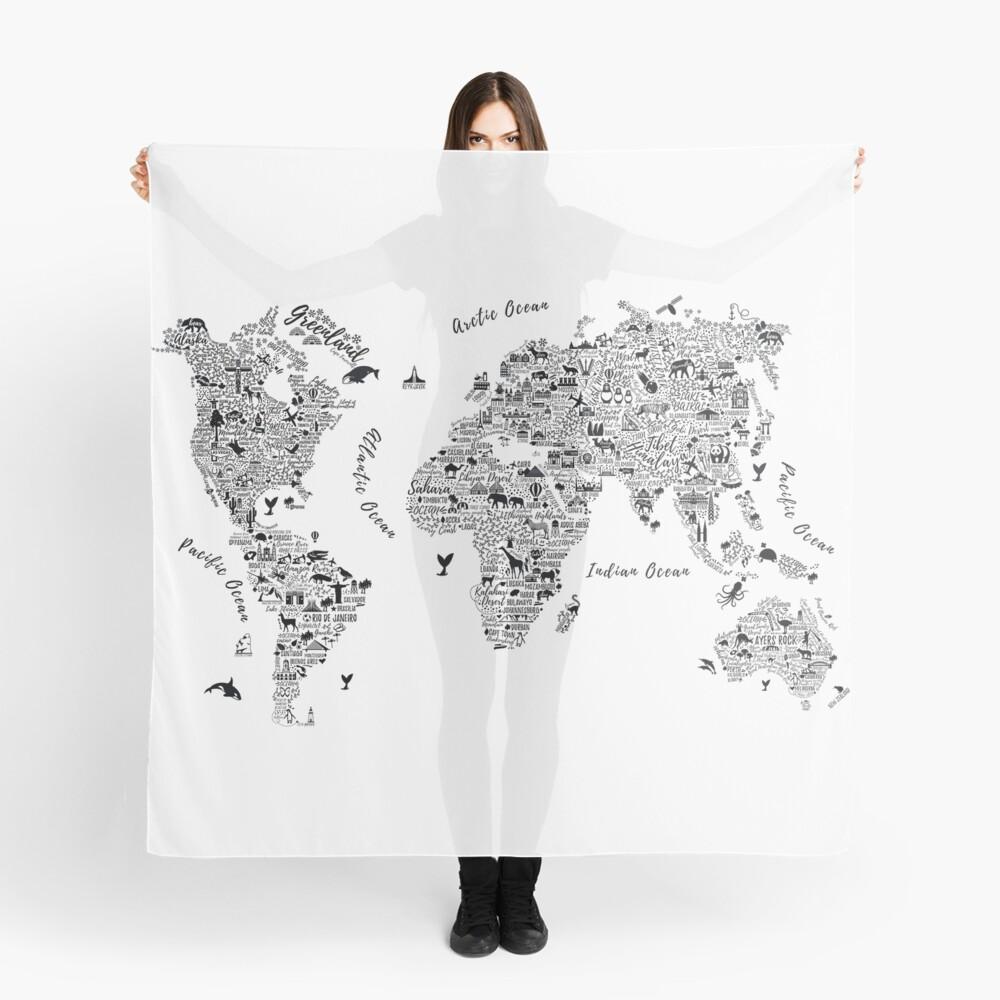 Typography World Map. Pañuelo