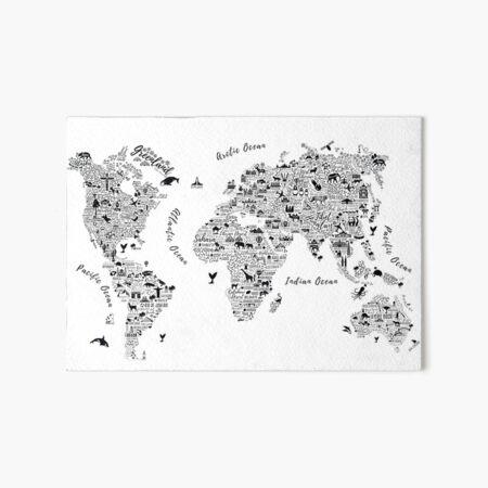 Typography World Map. Art Board Print