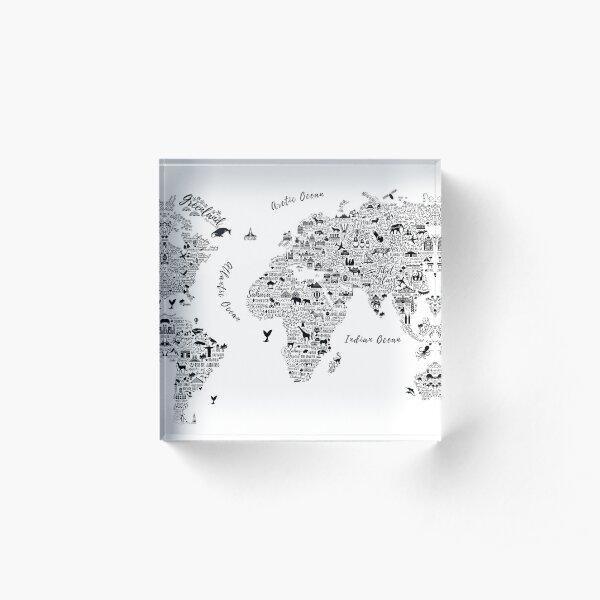 Typography World Map. Acrylic Block