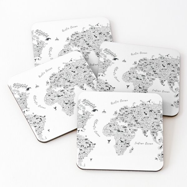Typography World Map. Coasters (Set of 4)