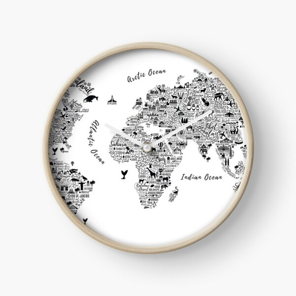 Typography World Map. Clock