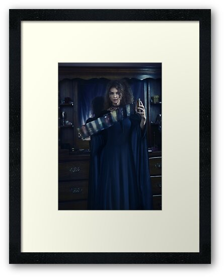 Woman Tarot card reader shuffling cards art print by AwenArtPrints