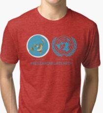 Flat Earth Designs - Research Flat Earth Map UN Logo Tri-blend T-Shirt
