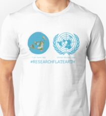 Flat Earth Designs - Research Flat Earth Map UN Logo T-Shirt