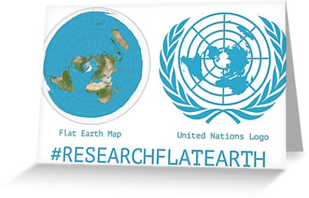 Flat earth designs research flat earth map un logo greeting cards flat earth designs research flat earth map un logo by flatearth1111 gumiabroncs Image collections