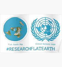 Flat Earth Designs - Research Flat Earth Map UN Logo Poster