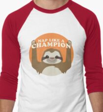 Sloths Nap Like Champions Men's Baseball ¾ T-Shirt