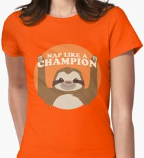 Sloths Nap Like Champions Womens Fitted T-Shirt