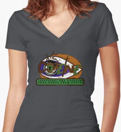 Coffeine Women's Fitted V-Neck T-Shirt