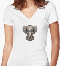 Cute Baby Elephant Dj Wearing Headphones and Glasses Women's Fitted V-Neck T-Shirt