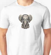 Cute Baby Elephant Dj Wearing Headphones and Glasses T-Shirt