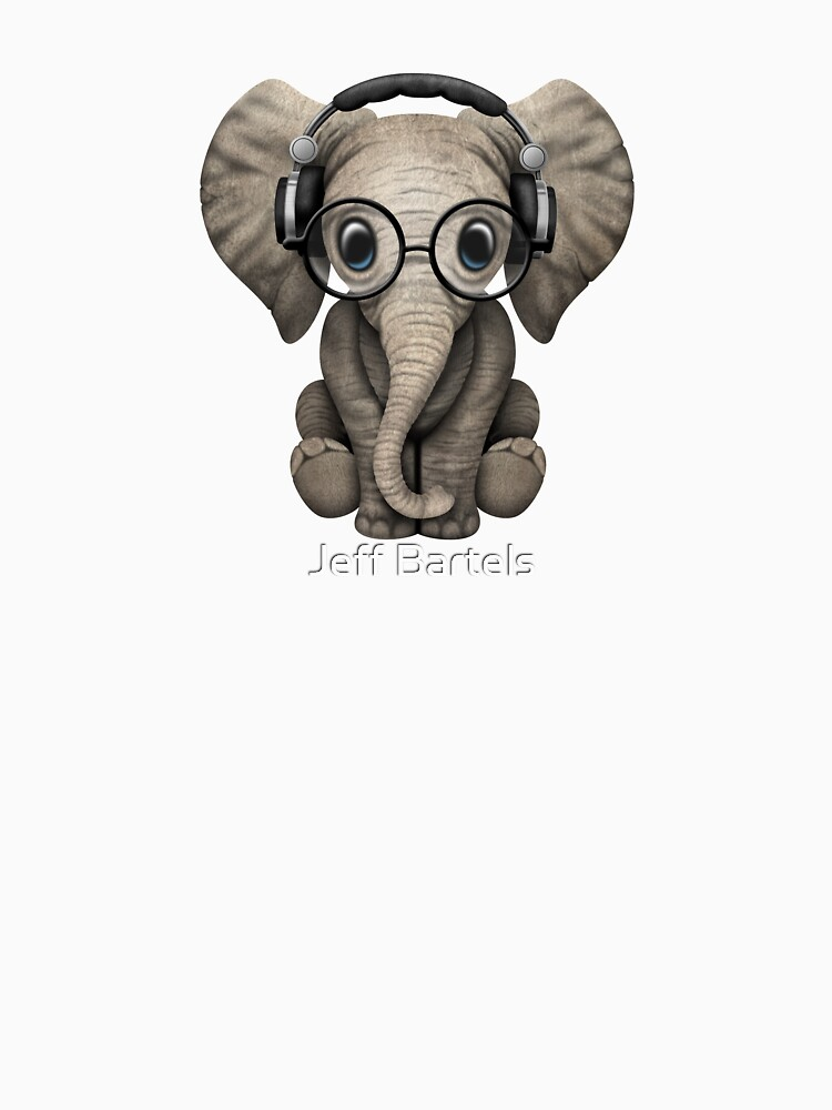 Cute Baby Elephant Dj Wearing Headphones and Glasses by JeffBartels