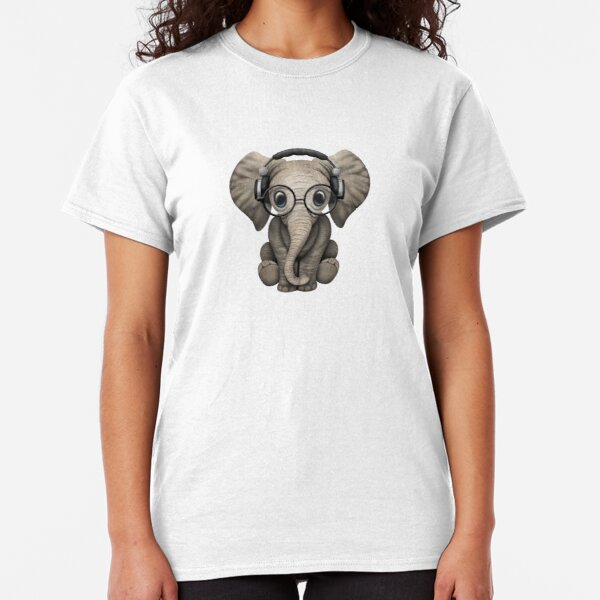 Cute Baby Elephant Dj Wearing Headphones and Glasses Classic T-Shirt