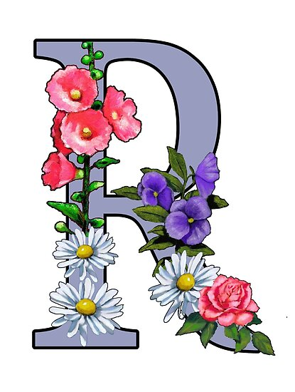 Letter r initial r monogram with flowers art posters by joyce letter r initial r monogram with flowers art by joyce geleynse thecheapjerseys Image collections
