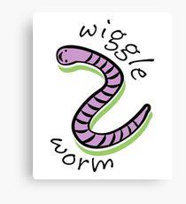 Cute Animal Wiggle Worm  Canvas Print