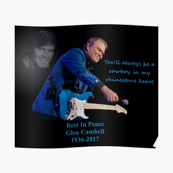 Glen Campbell Rhinestone Poster Lyrics Singer Star Black and White Picture Print