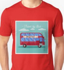 Travel Banner. Tourism Industry. Bus Travel. Mode of Transportation. Flat Style T-Shirt