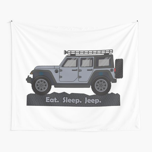 Grey Jeep Wrangler Tapestry