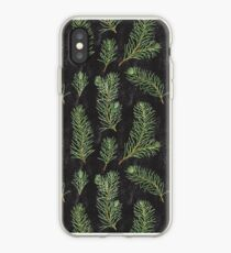 Watercolor pine branches pattern on black background iPhone Case