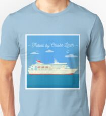 Travel Banner. Tourism Industry. Cruise Liner Travel. Mode of Transportation. Flat Style T-Shirt