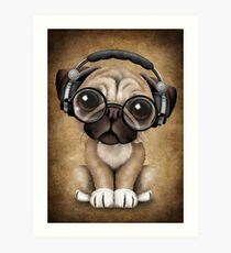 Lámina artística Cute Puppy Puppy Dj con auriculares y gafas