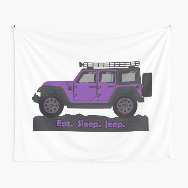 Purple Jeep Wrangler Tapestry
