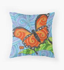 Orange Swirl Butterfly Throw Pillow