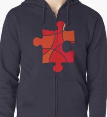 Red puzzle piece Zipped Hoodie
