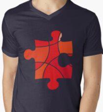 Red puzzle piece Men's V-Neck T-Shirt