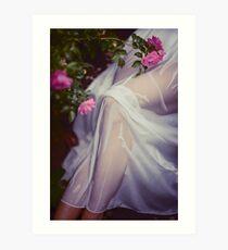 Woman legs under wet summer dress in rose garden art print Art Print