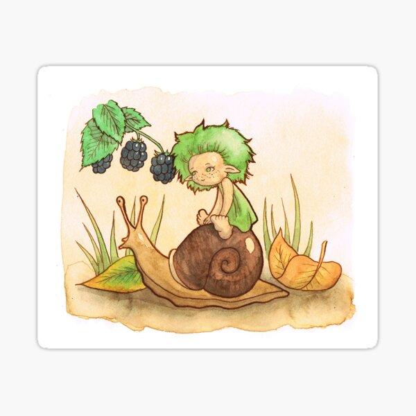 Wisp on a snail-ride Sticker