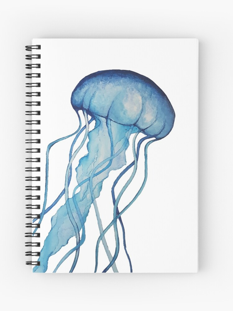 Cahier A Spirale Meduse Aquarelle Par Megananxo Redbubble