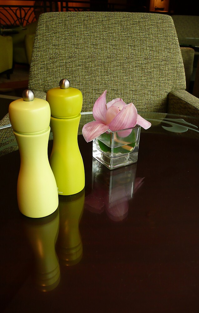 Condiments and a solitary rose by ragman