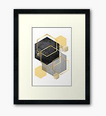 Schwarz und Gold Geometrisch Gerahmtes Wandbild