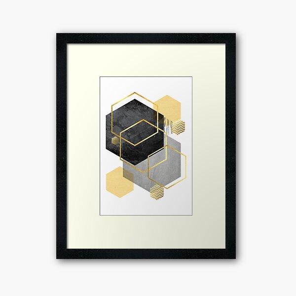 Black and Gold Geometric Framed Art Print