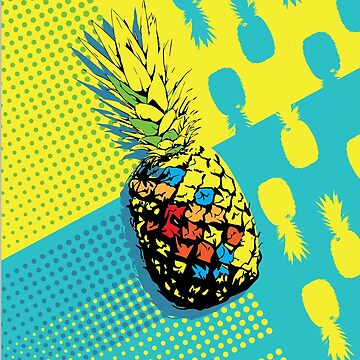 Pineapple Summer Vibe Vacation Popart by Chickini